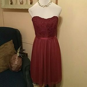 Beautiful strapless lace and ribbon accent dress